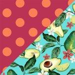 Avocado + Fuchsia & Orange Dots